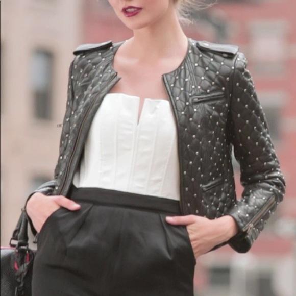 40009a1b23ce3 Alice + Olivia Jackets & Blazers - Alice + Olivia Siri Quilted Studded  Leather Jacket